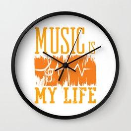 Music Is My Life Band Classic Genre Flat Music Shirt For Musicians Musician T-shirt Design Notes Wall Clock