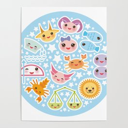 Funny Kawaii zodiac sign Poster