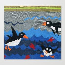 Penguin Vinyl Cut Collage Canvas Print