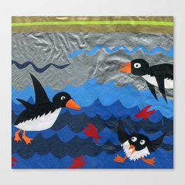 Penguin Vinyl Cut Collage Canvas Print