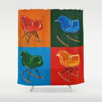 eames Shower Curtains featuring Eames Rocker  by Redeemed Ink by - Kagan Masters