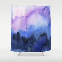 Abstract Mountains Purple Watercolor Shower Curtain