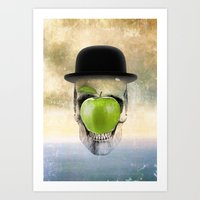 magritte Art Prints featuring Magritte Skull by HenryWine