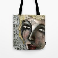 blondie Tote Bags featuring Blondie by The Waking Artist