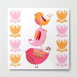 Happy Pink And Orange Birds And Blooms Metal Print