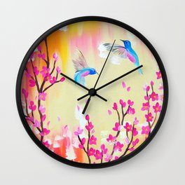 Hummingbirds with pink and yellow Wall Clock