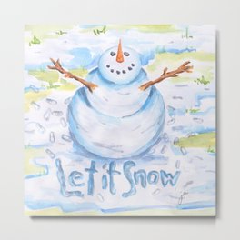 Let it Snow! Snowman Metal Print