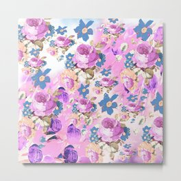 ROSES GIRLY PINK PURPLE AND BLUE FLOWER PATTERN Metal Print