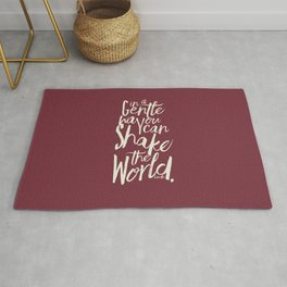Kindness quote by Mahatma Gandhi, Satyagraha, in a gentle way, you can shake the world, non violence Rug