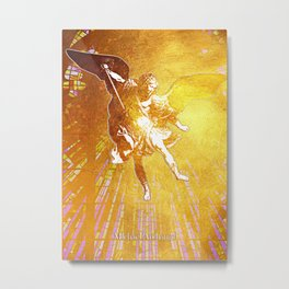 Archangel Michael in Gold Metal Print