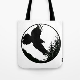 Raven & Forest circular silhouette Tote Bag
