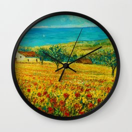 Rolling Hills of Red Poppies, Tuscany, Italy Landscape Painting Wall Clock