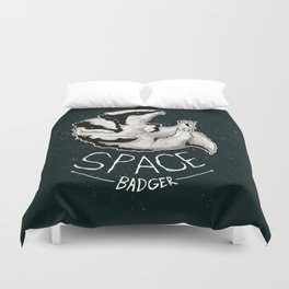 Space Badger by Devon Baker Duvet Cover