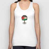 palestine Tank Tops featuring Vintage Tree of Life with Flag of Palestine by Jeff Bartels