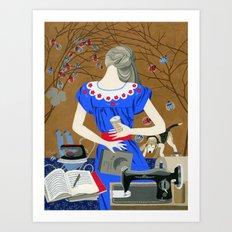 Lady in a blue dress Art Print