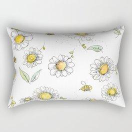 Bees and Daisies Rectangular Pillow