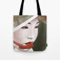 geisha Tote Bags featuring Geisha by Andrea Maiorana