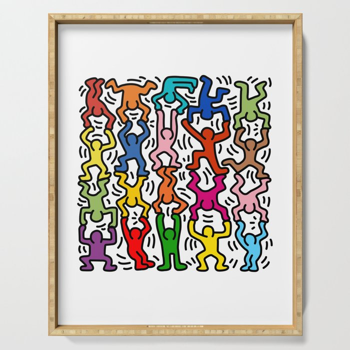 Homage to Keith Haring Acrobats II Serving Tray