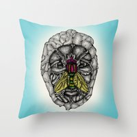 skulls Throw Pillows featuring skulls by Hanan Azran