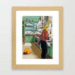 September. Canning fruits Framed Art Print