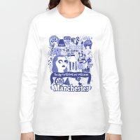 manchester Long Sleeve T-shirts featuring Manchester by leeann walker illustration