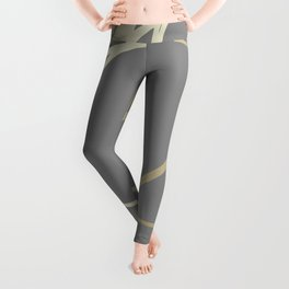 Gold and Gray Circles and Swirls Striped Abstract Pattern Leggings
