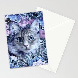 Cat In Flowers. Winter Stationery Cards