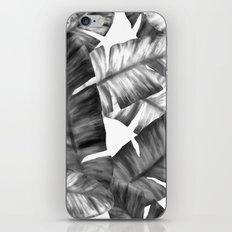 Black And White Tropical Banana Leaves Pattern iPhone & iPod Skin