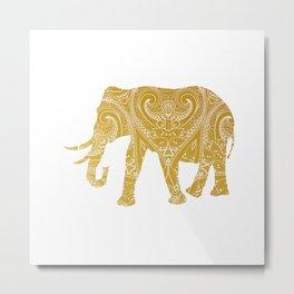 Indian Elephant Gold Metal Print
