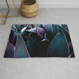 Abstract Leaves Dark Teal Purple Rug