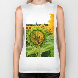 Sunflower Prepares to Unfold Itself Biker Tank