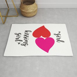 Lesbian Couple Love Girl Kiss LGBTQ Gay Bisexual Transgender Pride Pop Modern Red Lips Heart Rug