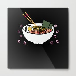 Anime & Ramen lovers noodle soup motif Metal Print