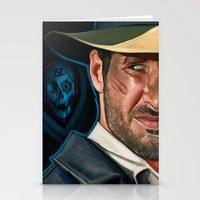 indiana jones Stationery Cards featuring Indiana Jones and the Phantom Dead by Brad Collins Art & Illustration