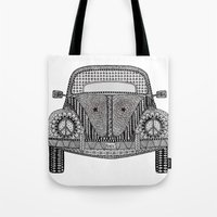 volkswagon Tote Bags featuring Tangled VW Bug by Cherry Creative Designs