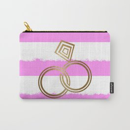 Romantic Gold Wedding Rings Carry-All Pouch