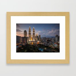 Petronas Towers By Night Framed Art Print