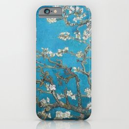 Vincent van Gogh Blossoming Almond Tree (Almond Blossoms) Medium Blue iPhone Case