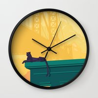 urban Wall Clocks featuring Urban jaguar by Roland Banrevi