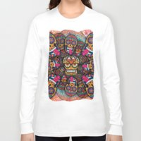sugar skulls Long Sleeve T-shirts featuring Crazy Sugar Skulls by Spooky Dooky
