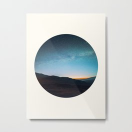 Mid Century Modern Round Circle Photo Graphic Design Mikey Way During Sunset Mountain Silhouette Metal Print