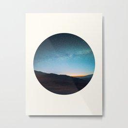 Mid Century Modern Round Circle Photo Graphic Design Mikey Way During Sunset Mountain Silhouette Metal Print