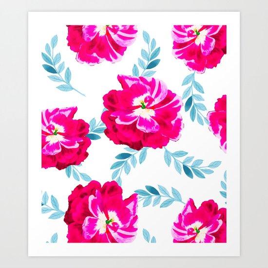 Fluorescent Florals #society6 #decor #buyart Art Print