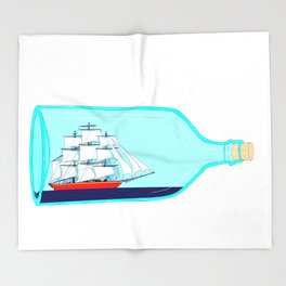 A Ship in a Bottle Throw Blanket