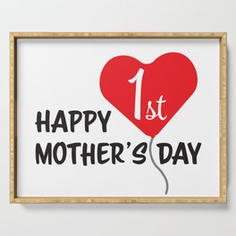 Happy First Mother's day Red Heart Balloon Serving Tray