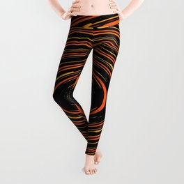circle pattern abstract background in orange and black Leggings
