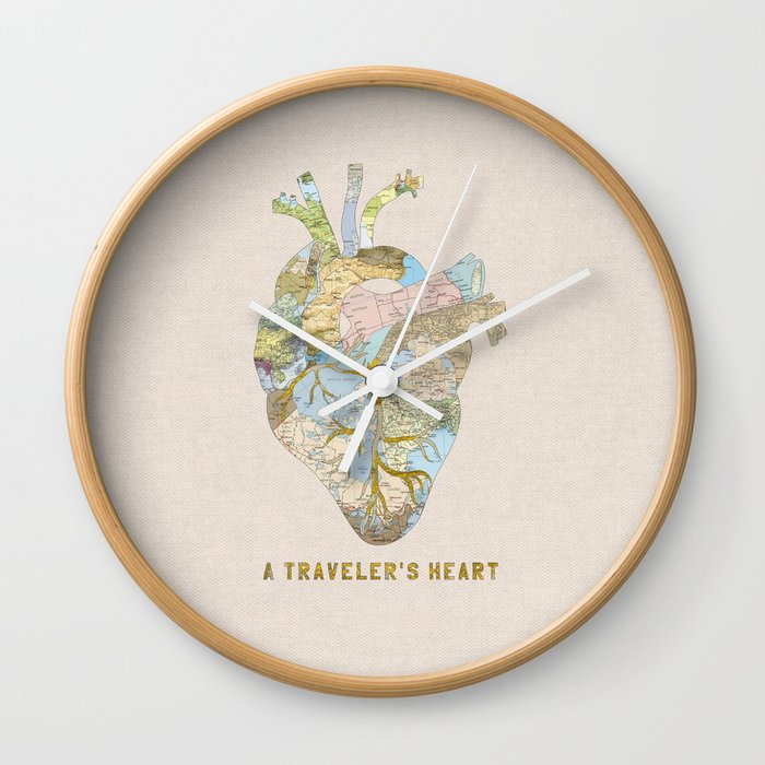 A Travelers Heart Wall Clock By Beegreen Society6