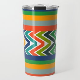 Multicolored stripes and waves Travel Mug