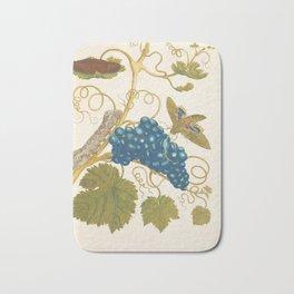 Vintage Flower Color Pencil Hand Drawing Bath Mat