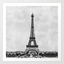 Eiffel tower, Paris France in black and white with painterly effect Art Print